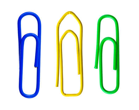 Set of paper clips isolated on white background photo