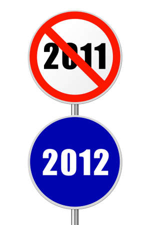 Round sign 2012 - New Year concept isolated on white background Stock Photo - 11270484