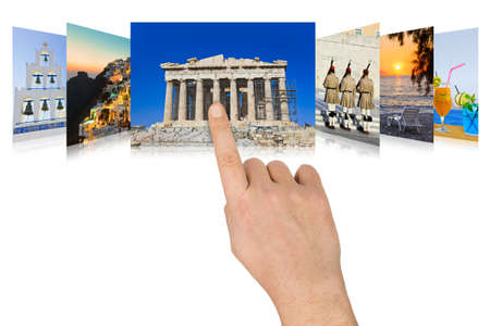 scrolling: Hand scrolling Greece travel images - nature and tourism concept (my photos) Stock Photo