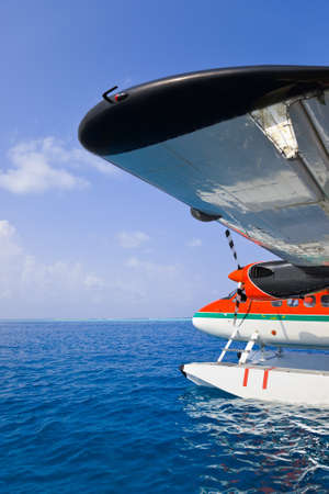 Sea plane at Maldives - transportation background photo