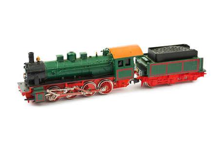 Toy train isolated on white background photo