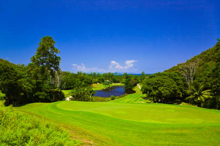 seychelles: Golf field at island Praslin, Seychelles - sport background