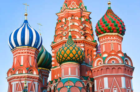 basil: Saint Basil Cathedral on Red square, Moscow (Russia) at sunset
