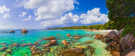 anse: Panorama of beach Anse Lazio at Seychelles - nature background Stock Photo