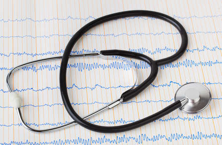 Stethoscope on ecg - medical background Stock Photo - 11270631