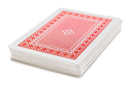 games of chance: Deck of playing cards isolated on white background