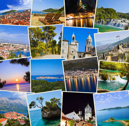 Stack of Croatia travel photos  - nature and travel background (my images) Stock Photo - 11438100