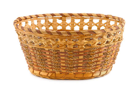 Empty wood basket isolated on white background photo