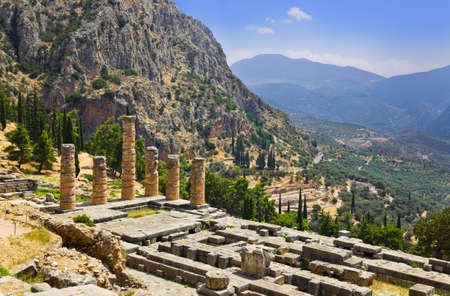 Ruins of Apollo temple in Delphi, Greece - archaeology background Stock Photo - 11438116