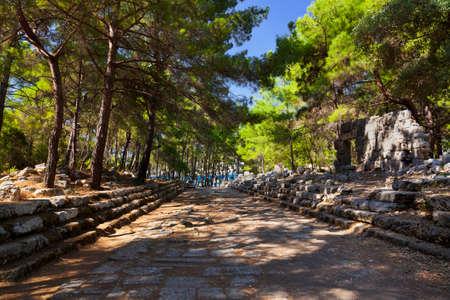 templo romano: Phaselis del casco antiguo en Antalya, Turquía, la arqueología de fondo