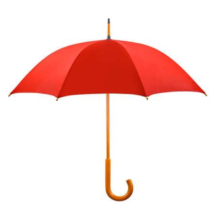 白い背景で隔離赤い傘を開いた