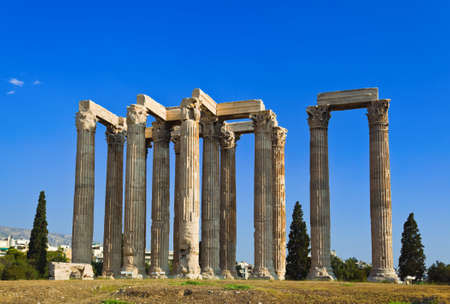 olympian: Temple of Zeus at Athens, Greece - travel background