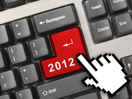 Computer keyboard with 2012 key and cursor - holiday concept Stock Photo - 11438142