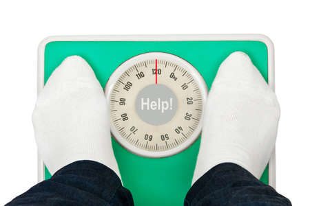 bathroom scale: Woman feet and weight scale Help! isolated on white background Stock Photo