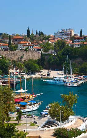 Old harbour in Antalya, Turkey - travel background Stock Photo
