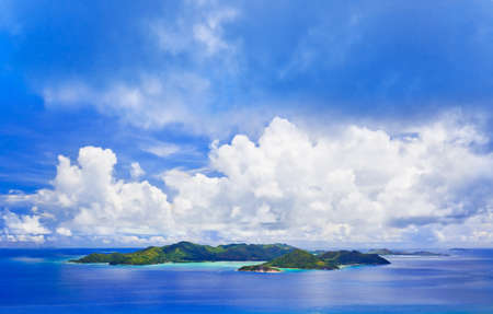 vue: Island Praslin at Seychelles - nature background Stock Photo