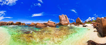 Panorama of tropical beach at Seychelles - nature background Stock Photo - 11438165