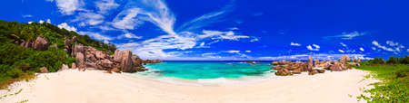 Panorama of tropical beach at Seychelles - nature background photo