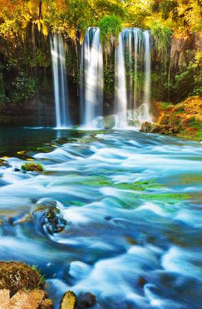 cascade mountains: Waterfall Duden at Antalya Turkey - nature travel background