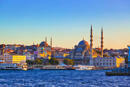 turkey istanbul: Istanbul sunset panorama - Turkey travel background Stock Photo