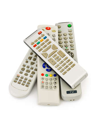 TV remote controls isolated on white background photo