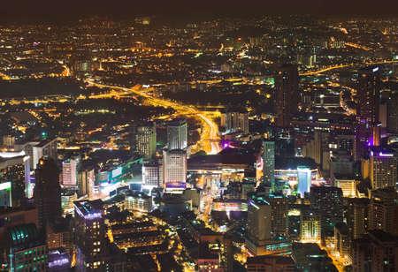 kuala lumpur city: View to Kuala Lumpur (Malaysia) at night - architecture background