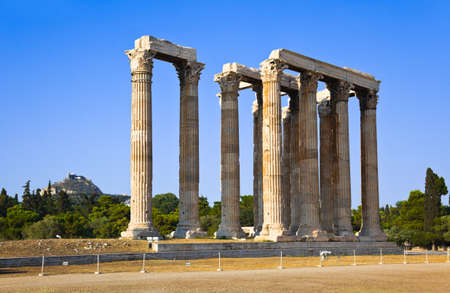 olympian: Temple of Zeus and Lycabettus hill at Athens, Greece - travel background