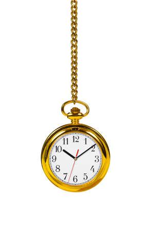 reloj de pendulo: Retro reloj y la cadena aisladas sobre fondo blanco