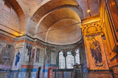chora: Interior de mosaico en Chora Kariye iglesia en Estambul, Turqu�a - la arquitectura de fondo Editorial