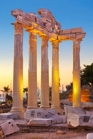 roman amphitheater: Old ruins in Side, Turkey at sunset - archeology background Stock Photo