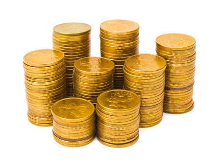 Gold coin: Ngăn xếp của đồng tiền bị cô lập trên nền trắng
