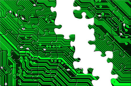 Computer board made of puzzle - technology concept background photo