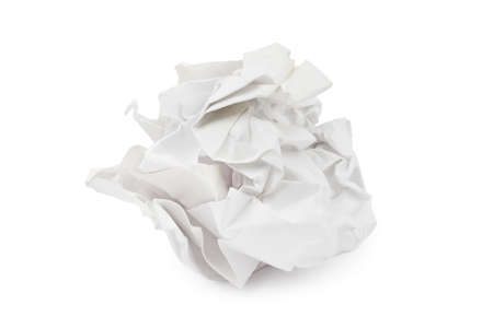 wastepaper: Crumpled paper - isolated on white background