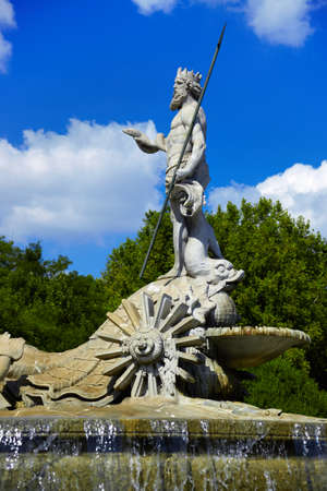 The fountain of Neptune in Madrid, Spain - architecture background photo