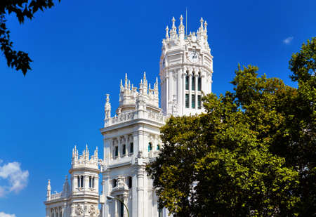 guildhall: The palace in plaza Cibeles at Madrid, Spain - architecture background Stock Photo