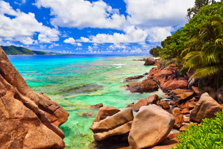 Tropical beach at Seychelles - vacation background photo