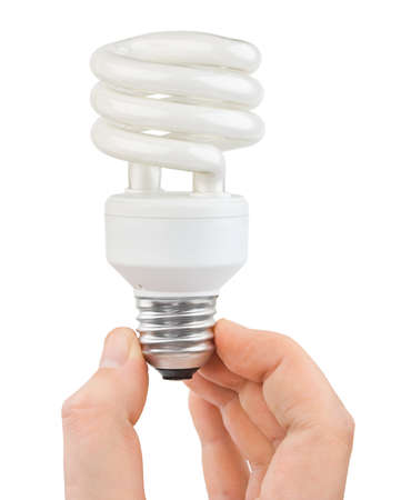 Hand with bulb isolated on white background photo