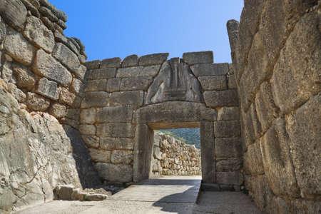 citadel: Lion Gate at Mycenae, Greece - archaeology background
