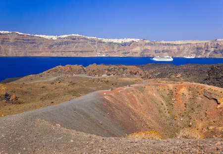 Santorini view from volcano - nature background photo