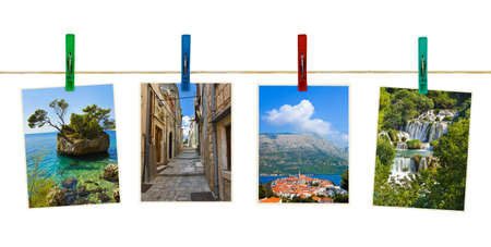 croatia dubrovnik: Croatia photography on clothespins isolated on white background
