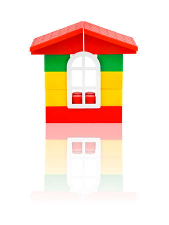 erector: Toy house isolated on white background