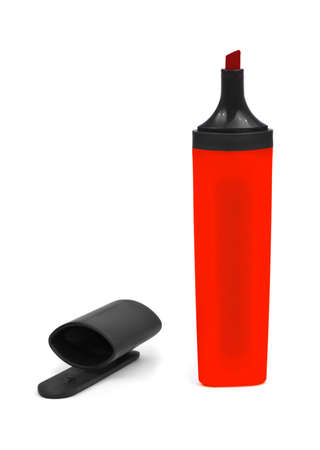 Red marker and cap isolated on white background photo
