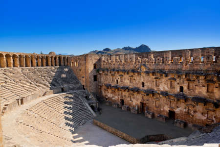 amphitheater: Old amphitheater Aspendos in Antalya, Turkey - archaeology background