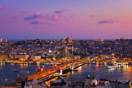 Istanbul sunset panorama - Turkey travel background Banco de Imagens