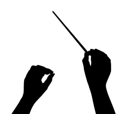 musician silhouette: Music conductor hands isolated on white background Stock Photo