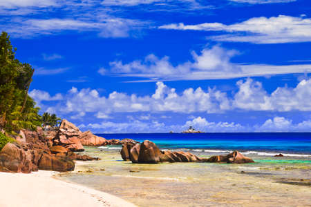 Tropical beach at Seychelles - nature background photo