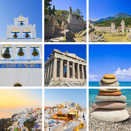 ancient greece: Collage of Greece travel images - nature and tourism background (my photos)