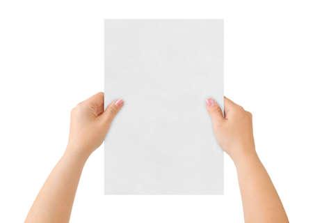 hand business card: Le mani e la carta isolato su sfondo bianco Archivio Fotografico