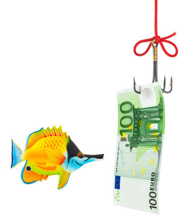 Fishing hook and money isolated on white background photo