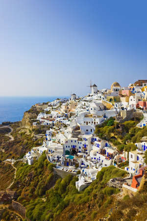 Village Oia at Santorini, Greece - vacation background photo